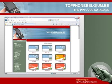 TOPPHONEBELGIUM.BE THE PIN CODE DATABASE. TOPPHONEBELGIUM.BE INTRODUCTION TO THE COMPANY TOP PHONE Active in telecom since 1996 Based in Antwerpen but.