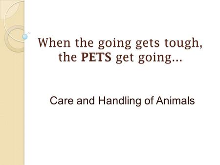 When the going gets tough, the PETS get going... Care and Handling of Animals.