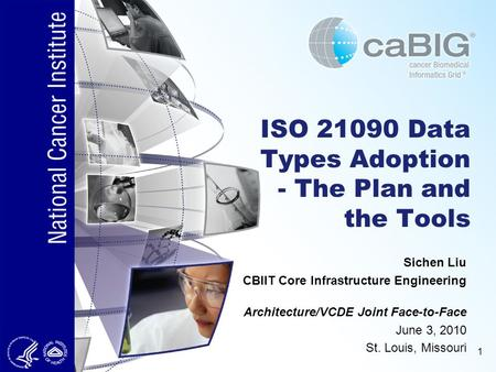 1 ISO 21090 Data Types Adoption - The Plan and the Tools Architecture/VCDE Joint Face-to-Face June 3, 2010 St. Louis, Missouri Sichen Liu CBIIT Core Infrastructure.