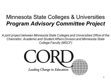 1 Minnesota State Colleges & Universities Program Advisory Committee Project A joint project between Minnesota State Colleges and Universities Office of.