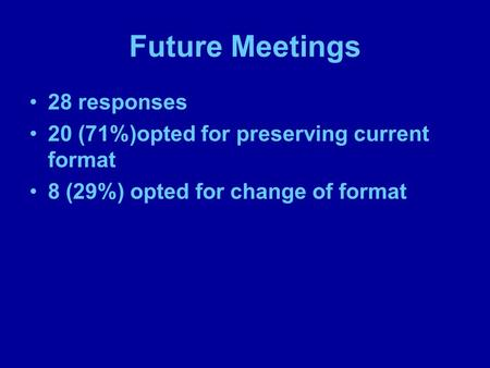 Future Meetings 28 responses 20 (71%)opted for preserving current format 8 (29%) opted for change of format.