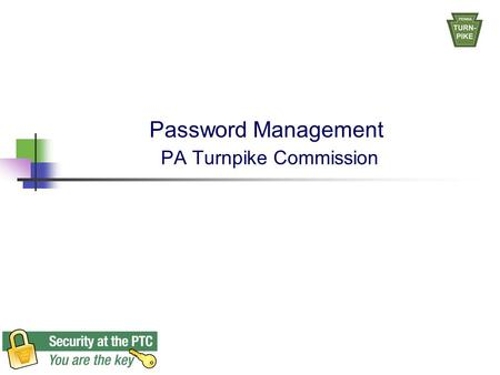 Password Management PA Turnpike Commission