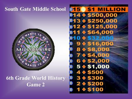 South Gate Middle School 6th Grade World History Game 2.