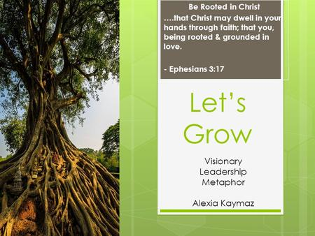 Let's Grow Be Rooted in Christ ….that Christ may dwell in your hands through faith; that you, being rooted & grounded in love. - Ephesians 3:17 Visionary.
