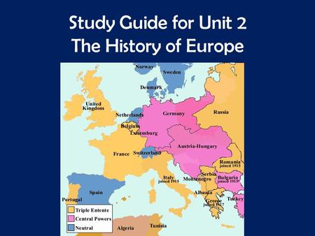 Study Guide for Unit 2 The History of Europe