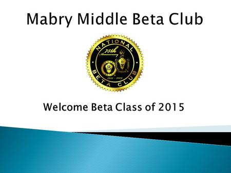Welcome Beta Class of 2015.  Caleb Zwiernikowski – President  Michaela Kimbrell – Vice President  Emma Phillips – Secretary  Noah Johnson – Chaplin.