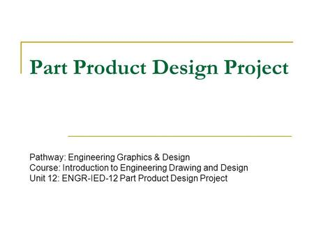 Part Product Design Project