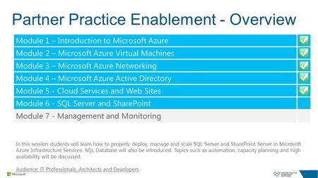 Partner Practice Enablement - Overview In this session students will learn how to properly deploy, manage and scale SQL Server and SharePoint Server in.
