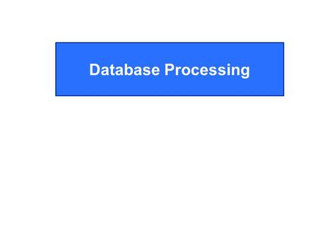 Database Processing. Businesses of every size organize data records into collections called databases. At one extreme, small businesses use databases.
