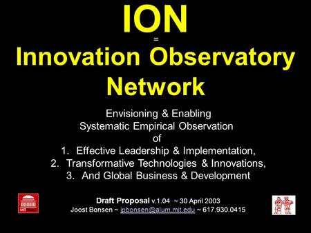 ION Innovation Observatory Network Envisioning & Enabling Systematic Empirical Observation of 1.Effective Leadership & Implementation, 2.Transformative.