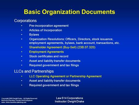Law 514 Corporations Instructor: Dwight Drake Basic Organization Documents Corporations Pre-incorporation agreement Articles of Incorporation Bylaws Organization.