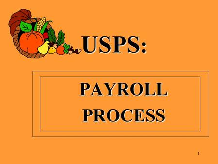 USPS : PAYROLLPROCESS 1. ITC BEGINNING PAYROLL TRAINING MONDAY, SEPTEMBER 24, 2012 TUESDAY, SEPTEMBER 25, 2012 2.