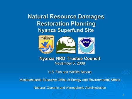 1 Nyanza NRD Trustee Council November 5, 2008 U.S. Fish and Wildlife Service Massachusetts Executive Office of Energy and Environmental Affairs National.