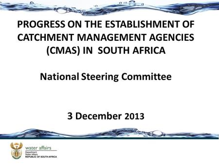 PROGRESS ON THE ESTABLISHMENT OF CATCHMENT MANAGEMENT AGENCIES (CMAS) IN SOUTH AFRICA National Steering Committee 3 December 2013.