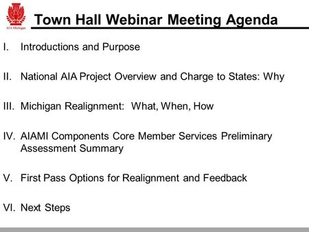 Town Hall Webinar Meeting Agenda I.Introductions and Purpose II.National AIA Project Overview and Charge to States: Why III.Michigan Realignment: What,