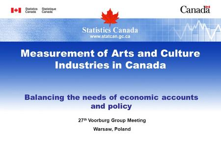 Balancing the needs of economic accounts and policy 27 th Voorburg Group Meeting Warsaw, Poland Measurement of Arts and Culture Industries in Canada.