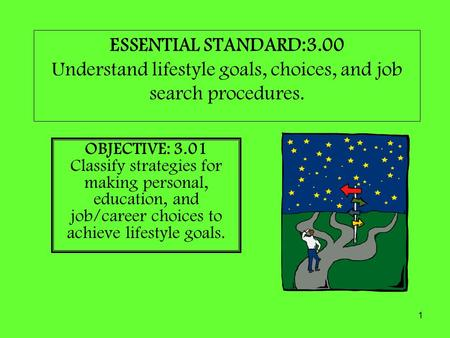 1 ESSENTIAL STANDARD:3.00 Understand lifestyle goals, choices, and job search procedures. OBJECTIVE: 3.01 Classify strategies for making personal, education,