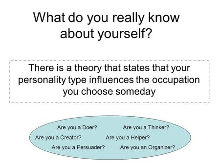 What do you really know about yourself? There is a theory that states that your personality type influences the occupation you choose someday Are you a.