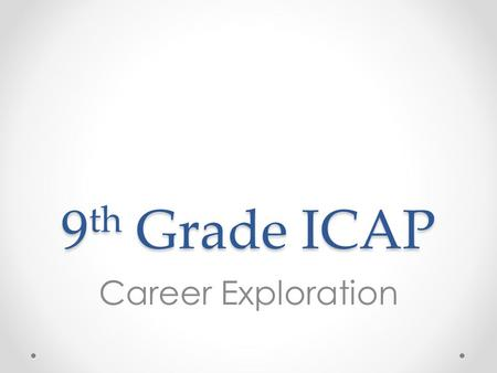 9 th Grade ICAP Career Exploration. Overview 1.Review Colorado Career Cluster Model 2.Review 8 th grade survey results 3.Complete Colorado Career Cluster.