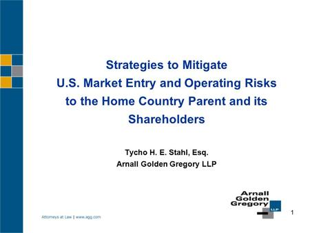 1 Strategies to Mitigate U.S. Market Entry and Operating Risks to the Home Country Parent and its Shareholders Tycho H. E. Stahl, Esq. Arnall Golden Gregory.