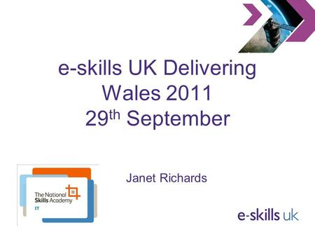 E-skills UK Delivering Wales 2011 29 th September Janet Richards.