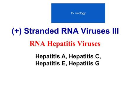 (+) Stranded RNA Viruses III RNA Hepatitis Viruses Hepatitis A, Hepatitis C, Hepatitis E, Hepatitis G D- virology.