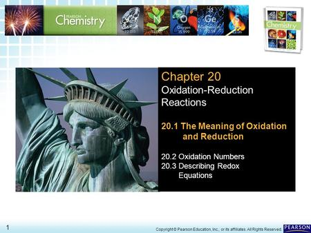 Chapter 20 Oxidation-Reduction Reactions 20.1 The Meaning of Oxidation
