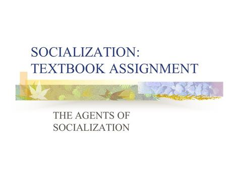SOCIALIZATION: TEXTBOOK ASSIGNMENT