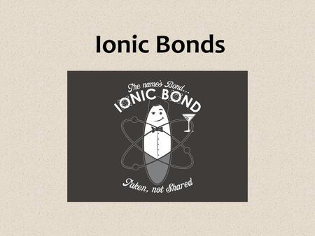 Ionic Bonds. Review! Ion – atom that is no longer neutral because it has lost or gained electrons  Now it has an electric charge! Atoms with 5, 6 or.
