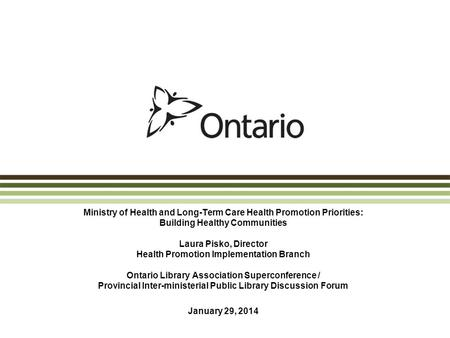 Ministry of Health and Long-Term Care Health Promotion Priorities: