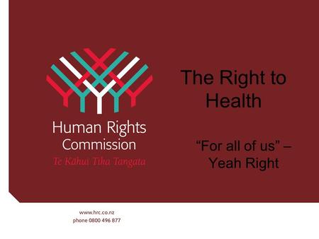 "The Right to Health ""For all of us"" – Yeah Right."