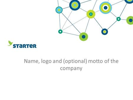 Name, logo and (optional) motto of the company. Facts about the company In which industry company works? Product – what do you want to sell? (remember.