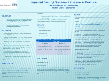 O Identify whether all patients in the practice population diagnosed with IFG have had a repeat fasting blood glucose (FBG) within the past 12months o.