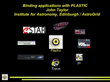 Binding applications with PLASTIC John Taylor Institute for Astronomy, Edinburgh / AstroGrid Topcat Astr oSco pe Plastic.