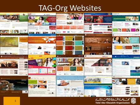 TAG-Org Websites 1. Why Websites ? Branding: Since it's our website, we can set the design and build the awareness of our brand. To create our own Online.
