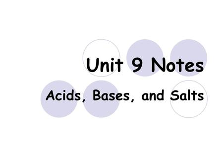 Unit 9 Notes Acids, Bases, and Salts. Acids An acid is a substance that produces Hydrogen ion H + or hydronium H 3 O + in solution.