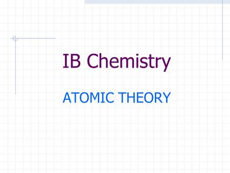 IB Chemistry ATOMIC THEORY. Atomic Structure Atoms are very small ~ 10 -10 meters All atoms are made up of three sub-atomic particles: protons, neutrons.