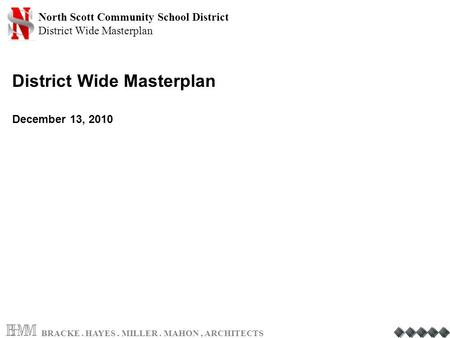 North Scott Community School District District Wide Masterplan BRACKE. HAYES. MILLER. MAHON, ARCHITECTS District Wide Masterplan December 13, 2010.