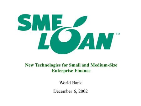 New Technologies for Small and Medium-Size Enterprise Finance