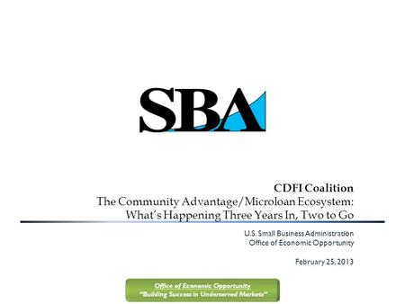 "Office of Economic Opportunity ""Building Success in Underserved Markets"" CDFI Coalition The Community Advantage/Microloan Ecosystem: What's Happening Three."