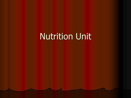 Nutrition Unit. Definitions Nutrition – Eating foods the body needs to grow, develop, and work properly. Nutrition – Eating foods the body needs to grow,