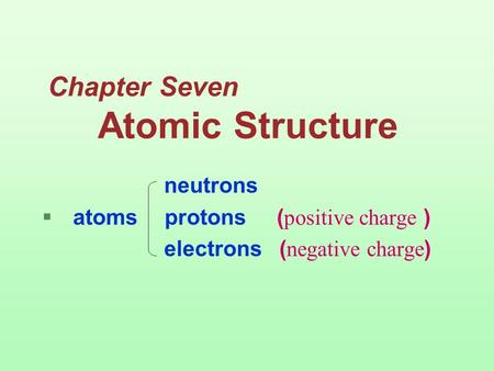 electro谱子-Chapter Seven Atomic Structure neutrons  atoms protons ( positiv
