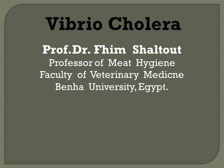 Prof.Dr. Fhim Shaltout Professor of Meat Hygiene Faculty of Veterinary Medicne Benha University, Egypt.