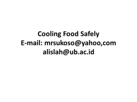 Cooling Food Safely