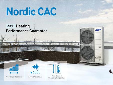 -13°F. . CAC Line up (Heat Pump) Capacity (Btu/h)18,00024,00030,00036,00042,00048,000 Remote Controller Wireles s Wired Nordic Outdoor Unit 1Φ, 208~230.