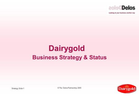 Strategy Slide 1 © The Delos Partnership 2005 Dairygold Business Strategy & Status.