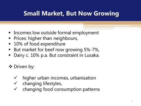Small Market, But Now Growing  Incomes low outside formal employment  Prices: higher than neighbours,  10% of food expenditure  But market for beef.