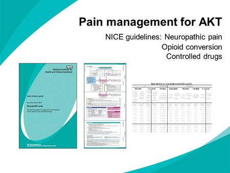 Pain management for AKT NICE guidelines: Neuropathic pain Opioid conversion Controlled drugs.