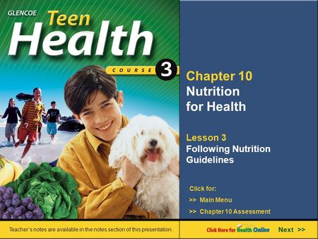Chapter 10 Nutrition for Health Lesson 3
