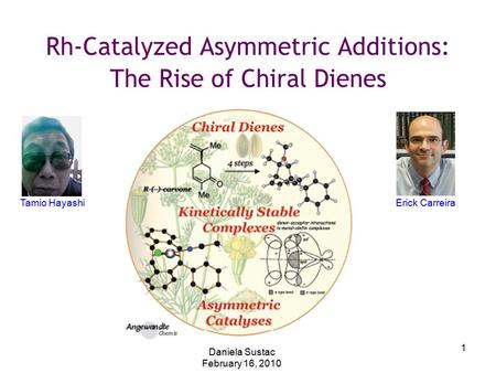1 Rh-Catalyzed Asymmetric Additions: The Rise of Chiral Dienes Daniela Sustac February 16, 2010 Tamio HayashiErick Carreira.